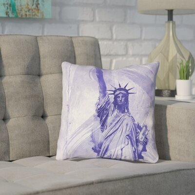 Houck Watercolor Statue of Liberty Pillow Cover Size: 26 H x 26 W