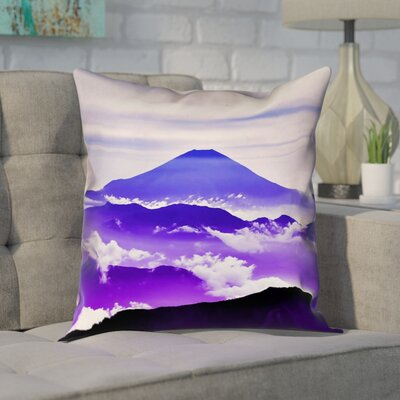 Enciso Fuji Cotton Pillow Cover Size: 14 H x 14 W, Color: Blue/Purple