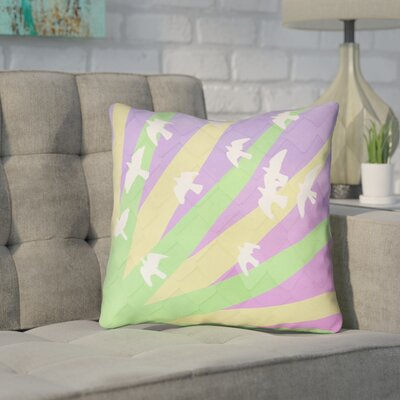 Enciso Contemporary Birds and Sun Throw Pillow Color: Green/Yellow/Purple, Size: 20 H x 20 W