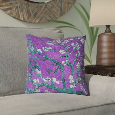 Lei Almond Blossom Throw Pillow Color: Purple/Blue, Size: 18 x 18