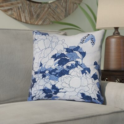 Clair Peonies and Butterfly Indoor Square Throw Pillow Size: 26 H x 26 W, Color: Blue