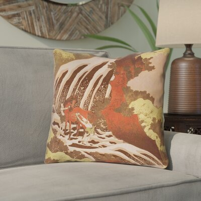 Channelle Horse and Waterfall Double Sided Print Throw Pillow Size: 20 x 20, Color: Yellow