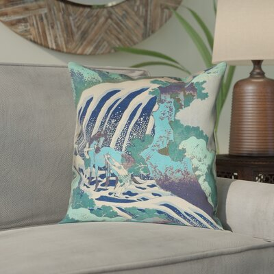 Channelle Horse and Waterfall Square Pillow Cover Size: 16 x 16, Color: Teal