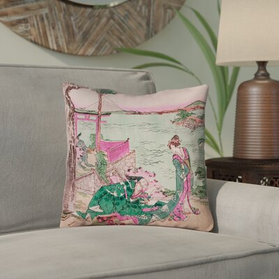 Enya Japanese Courtesan Outdoor Throw Pillow Color: Green/Pink, Size: 18 x 18