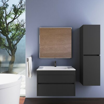 Whiteley Single Bathroom Vanity Set with Mirror Size: 19.68 H x 39.37 W x 18.89 D