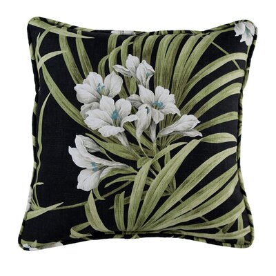 Revathi Floral Cotton Throw Pillow Color: Black/Green