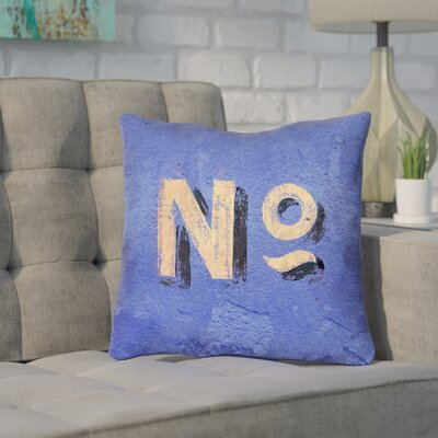 Enciso Graphic Wall Outdoor Throw Pillow Size: 18 x 18, Color: Blue/Beige