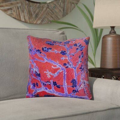 Lei Almond Blossom Throw Pillow Color: Red/Blue, Size: 18 x 18