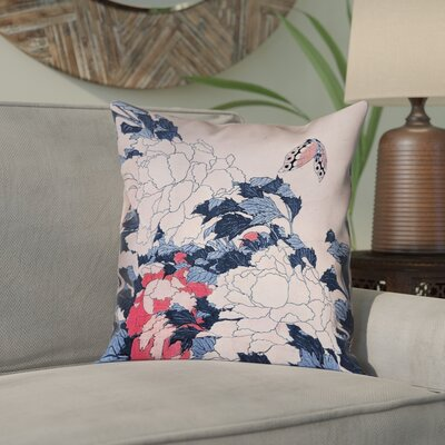 Clair Peonies and Butterfly Square Linen Pillow Cover Size: 14 H x 14 W, Color: Blue/Pink