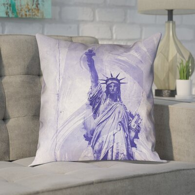 Houck Watercolor Statue of Liberty Square Pillow Cover Size: 18 H x 18 W