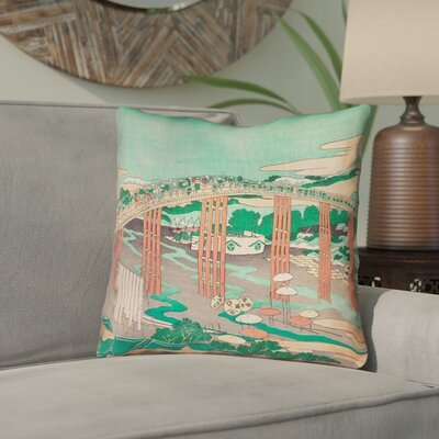 Enya Japanese Bridge Linen Throw Pillow Color: Green/Peach, Size: 16 x 16