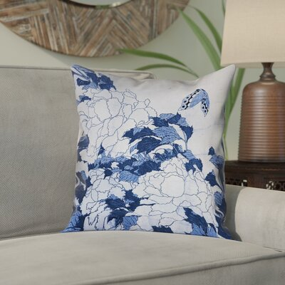 Clair Peonies and Butterfly Square Linen Pillow Cover Size: 16 H x 16 W, Color: Blue