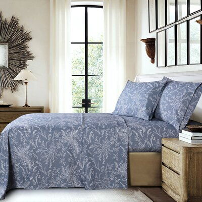 Dixon Print Microfiber Sheet Set Size: California King, Color: Blue/White Flowers