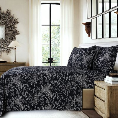 Dixon Print Microfiber Sheet Set Size: Full, Color: Black/White Flowers