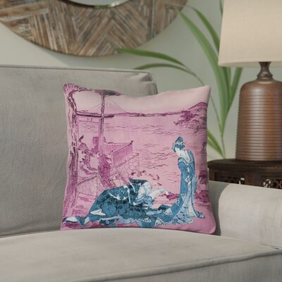 Enya Japanese Courtesan Outdoor Throw Pillow Color: Blue/Pink, Size: 20 x 20