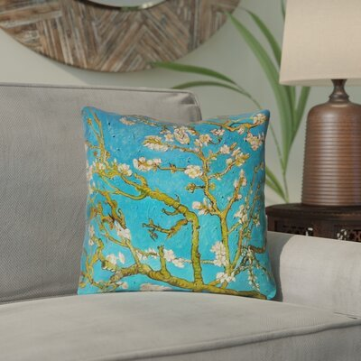 Lei Almond Blossom Throw Pillow Color: Blue/Yellow, Size: 18 x 18