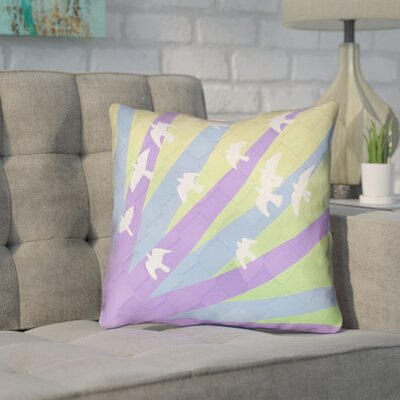 Enciso Contemporary Birds and Sun Throw Pillow Color: Purple/Blue/Yellow, Size: 18 H x 18 W