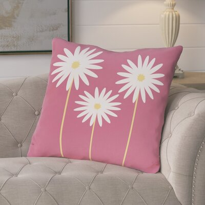 Broecker Floral Print Outdoor Throw Pillow Color: Pink Cheeks, Size: 18 H x 18 W x 1 D