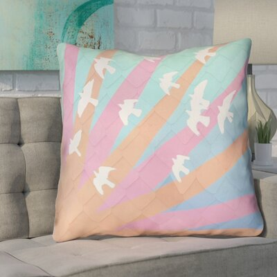 Enciso Birds and Sun Faux Leather Euro Pillow Color: Orange/Pink/Blue