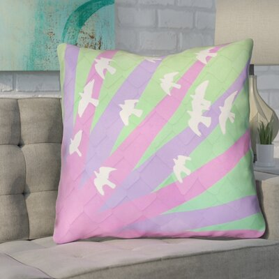 Enciso Birds and Sun Euro Pillow Color: Purple/Green Ombre