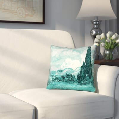 Woodlawn Teal Wheatfield with Cypresses Pillow Cover Size: 26 x 26