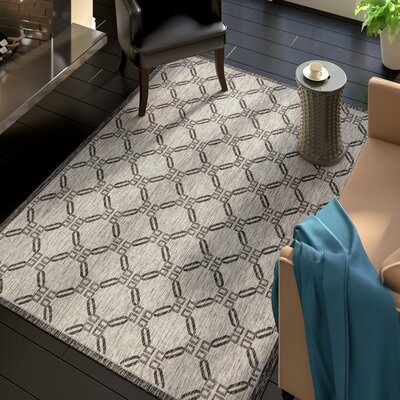Cochrane Ivory/Charcoal Indoor/Outdoor Area Rug Rug Size: Rectangle 53 x 73