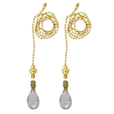 Fan Pull Chain with Flat Teardrop-Shaped Crystal Finial