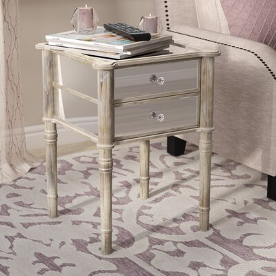 Dafne End Table with Storage Color: Weathered White
