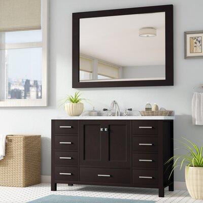 Marine 55 Single Bathroom Vanity Set with Mirror Base Finish: Espresso