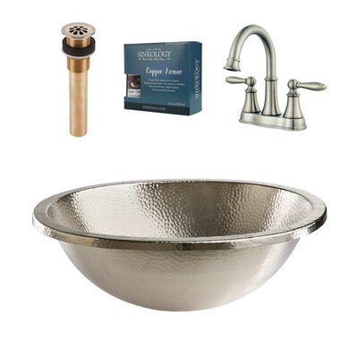 Edison and Courant All-in-One Metal Circular Undermount Bathroom Sink with Faucet