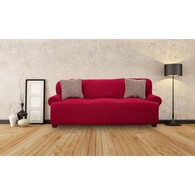 T-cushion Sofa Slipcover Upholstery: Burgundy
