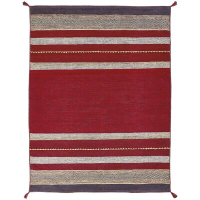 Gueye Hand Knotted Cotton Red Area Rug Rug Size: Rectangle 36 x 56