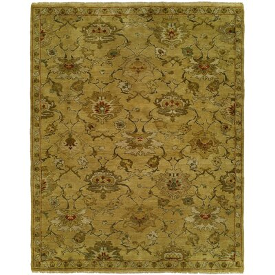 Hermina Hand Knotted Wool Gold Area Rug Rug Size: Rectangle 10 x 14