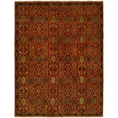 Gunnel Hand Knotted Wool Rust Area Rug Rug Size: Rectangle 6 x 9