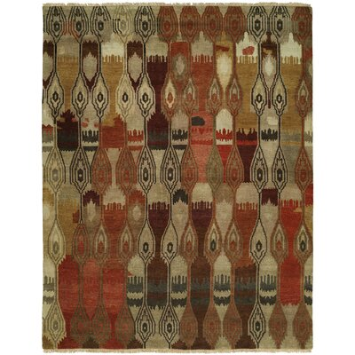 Hou Hand Knotted Wool Beige/Brown Area Rug Rug Size: Rectangle 10 x 14