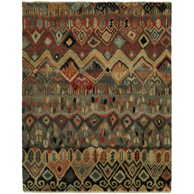 Giselle Hand Knotted Wool Ivory/Rust Area Rug Rug Size: Rectangle 6 x 9