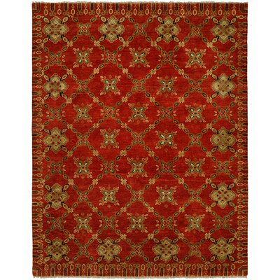 Hershel Hand Knotted Wool Red Area Rug Rug Size: Runner 26 x 12