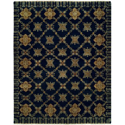 Herzog Hand Knotted Wool Navy Area Rug Rug Size: Rectangle 10 x 14
