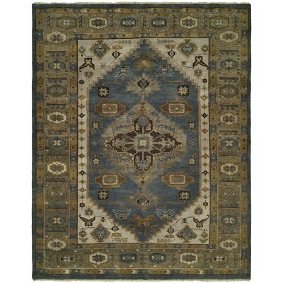 Mccarville Hand Knotted Wool Blue/Olive Area Rug Rug Size: Rectangle 4 x 6