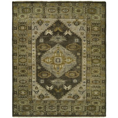 McCandlish Hand Knotted Wool Gray/Olive Area Rug Rug Size: Rectangle 4 x 6