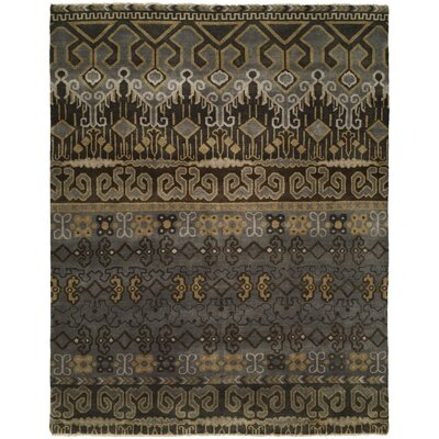 Goel Hand Knotted Wool Gray/Brown Area Rug Rug Size: Rectangle 9 x 12