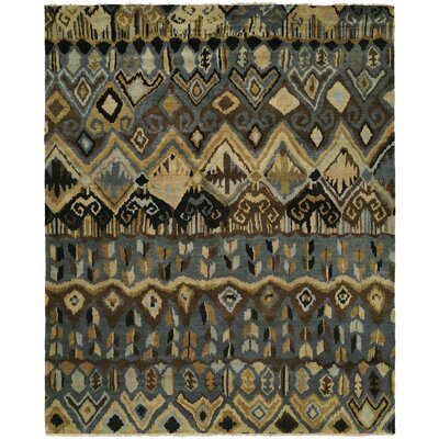 Giuditta Hand Knotted Wool Gray/Ivory Area Rug Rug Size: Rectangle 4 x 6