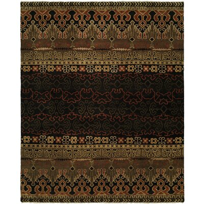 Gofried Hand Knotted Wool Black Area Rug Rug Size: Rectangle 4 x 6