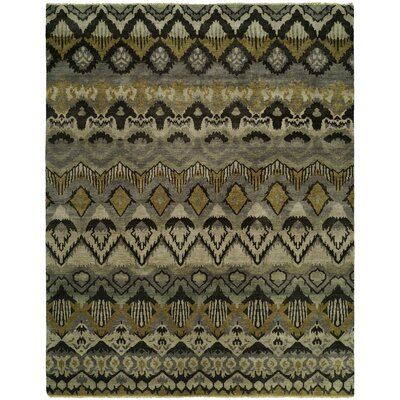 Giulia Hand Knotted Wool Gray/Khaki Area Rug Rug Size: Rectangle 10 x 14