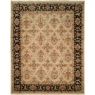 Maryville Hand Knotted Wool Ivory/Black Area Rug Rug Size: Rectangle 2 x 3