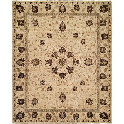 Hensley Hand Knotted Wool Brown/Ivory Area Rug Rug Size: Rectangle 6 x 9