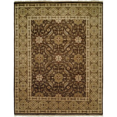 Maxine Hand Knotted Wool Brown/Olive�Area Rug Rug Size: Rectangle 4 x 6