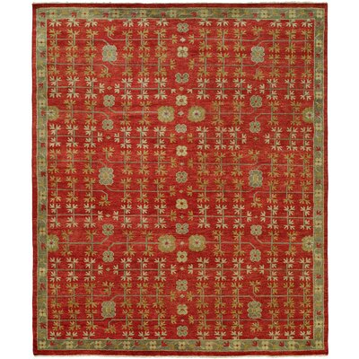 Ha Hand Knotted Wool Red Area Rug Rug Size: Rectangle 9 x 12