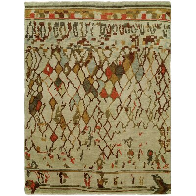 Hrivnak Hand Knotted Wool Beige Area Rug Rug Size: Rectangle 4 x 6