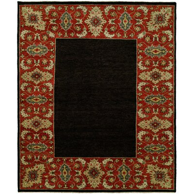 Dixmoor Hand Knotted Wool Black/Red Area Rug Rug Size: Rectangle 4 x 6